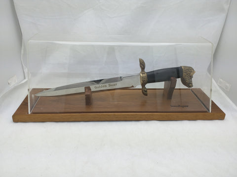 Kershaw Golden Boar Head Bowie Knife Display Case