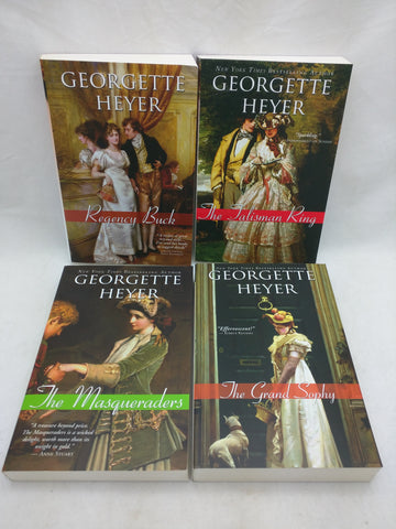 4 Georgette Heyer Book Set regency Buck the tailsman ring the masqueraders the grand sophy