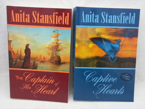 2 Signed 1st Anita Stansfield Book The Captain of Her Heart Captive Hearts SC