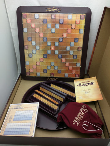 Scrabble Deluxe Edition Game Boardgame Wood Tiles Pocatello Market