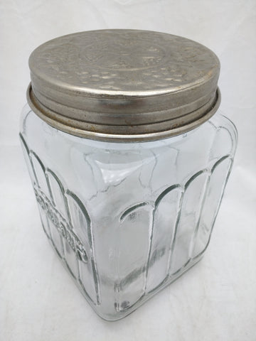 Bonbons Glass Jar Container Clear Glass Tin Lid 8x5x5