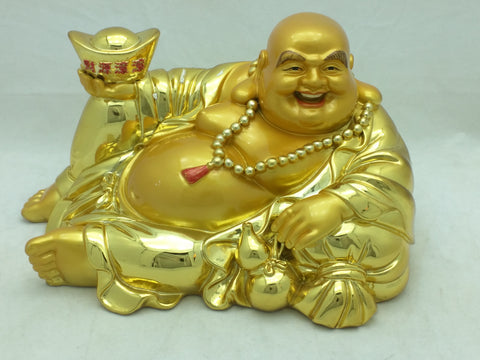 Buddha Gold Smiling Statue Figure Resin Laying Down Resting