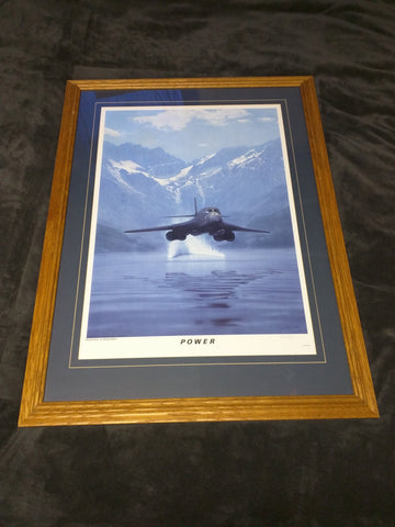 Rockwell B-1B Bomber Signed Dru Blair Print 1989 Oak Frame Airforce