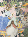 Edith Rabbit Bunnies Garden Easter Print Signed Numbered Bunny Picnic Vegetable