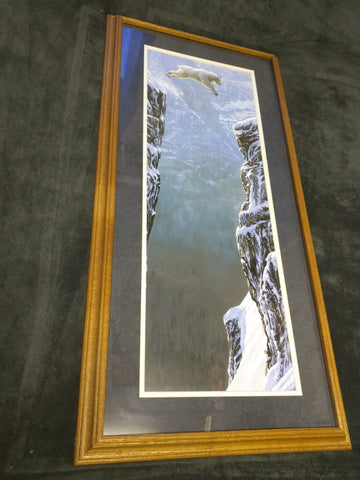Faith Patrick Lundquist Leaping Mountain Goat Jumping Canyon Print Oak Frame