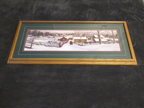 William Breedon Signed Numbered Print Sleigh Farm Oak Frame Winter