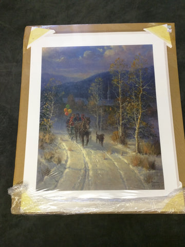 Jingle Bells Powder Snow G Harvey Christmas Print Signed Numbered Horse-Drawn Sleigh