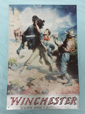 Winchester guns and cartridges cowboys horse tin sign reproduction