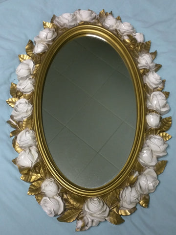 Oval Mirror White Roses Gold Leaf 1974 Homco Hollywood Regency Wall