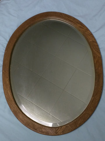 Oval Mirror Oak Frame Antique Beveled Edge