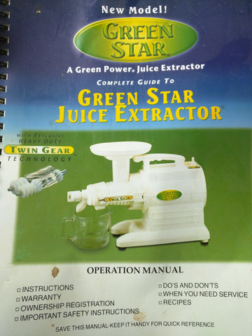 Green Star Pasta Vegetable Juicer GS-1000 Twin Gear Extractor extra Screen