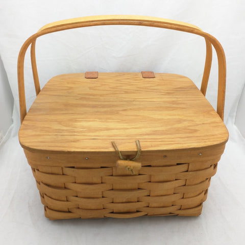 1995 12x12x6 Picnic Divider Protector Longaberger Basket Woven 11029 Pie Shelf 2 Handle Leather Hinge Lid
