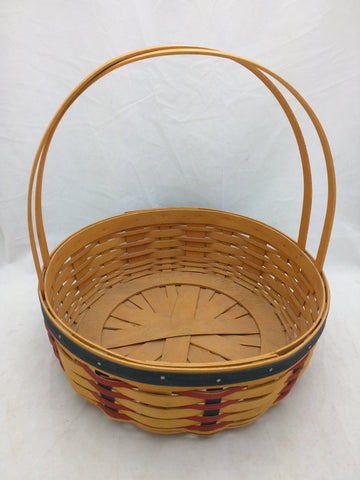2002 10x3 Round Easter Longaberger Basket Red Black Woven 2 Fixed Handle