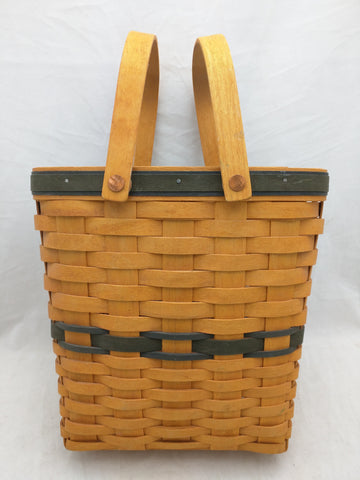 2000 9x5x9 Green Band Double Swing Handle Longaberger Basket Woven Oval Rectangle
