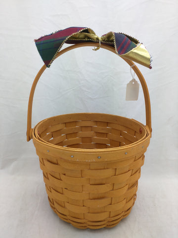 2000 8x6 Round Longaberger Basket Woven Bow Single Swing Handle