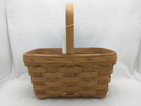 1986 11x8x5 Fixed Single Handle Longaberger Basket Woven