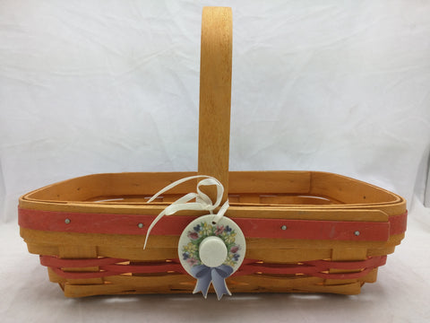 2000 11x7x3 Century Celebration Hat Longaberger Basket Woven Small Easter Orange Band