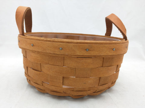 1993 7x3 Round Small Leather Handles Protector Longaberger Basket Woven