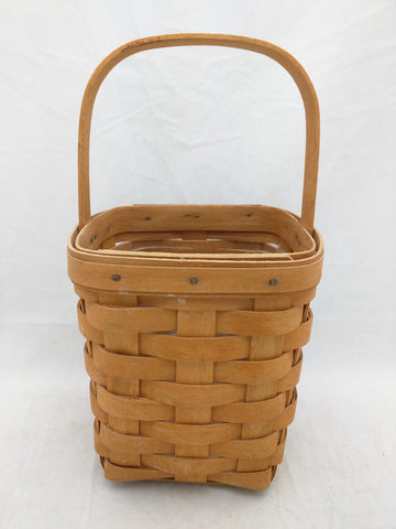 5.5x5.5x6 Fixed Single Handle Protector Small Longaberger Basket Woven AS-IS
