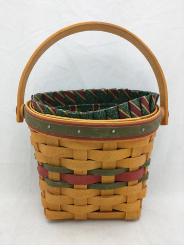 1999 5.5x4x5 Wall Basket Liner Swing Handle Small Longaberger Basket Woven Red Green Band