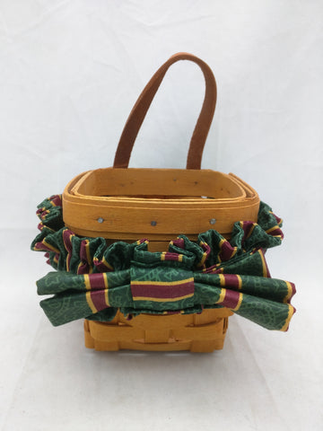 1999 4x4x3.5 Ribbon Wall Small Longaberger Basket Woven Leather Hanger Square