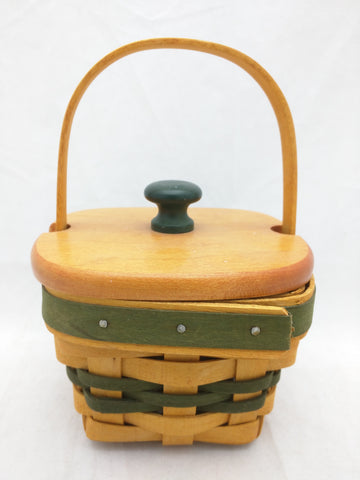 1999 4x4x3 Mini Picnic Shamrock Wood Lid Protector Longaberger Basket Lots of Luck Green Bands Square