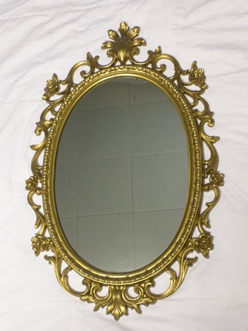 Homco Oval Mirror 1967 Hollywood Regency Gilt Gold Floral