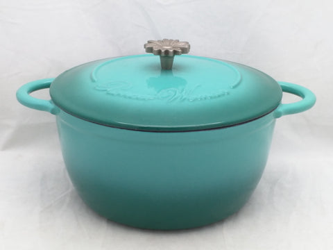 Pioneer Woman Cast Iron Turquoise Enamel Dutch Oven Pot Daisy Handle