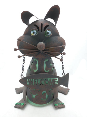"11.5"" Cat Welcome Sculpture Outdoor Yard Metal Statue Figurine"