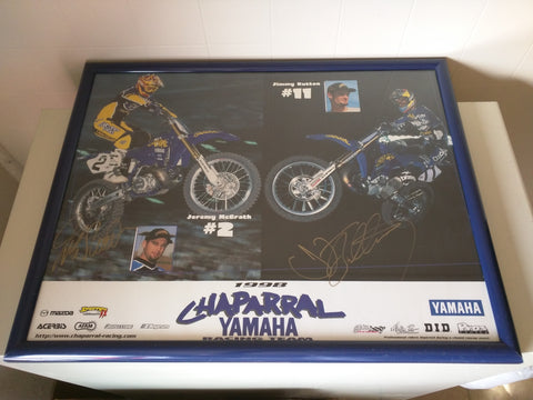 Signed Jeremy McGrath Jimmy Button Yamaha MotoX Motorcycle 1998 Chaparral 23x18 Poster  AD