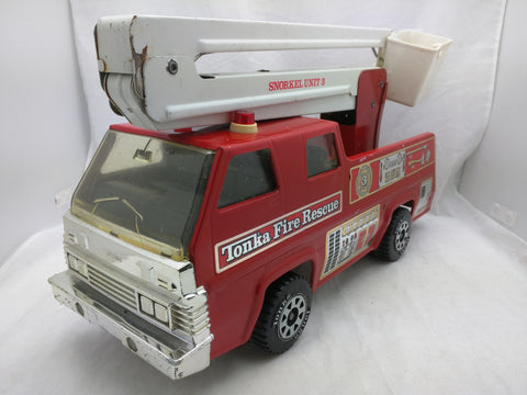 "Tonka Snorkel Fire Truck Rescue Unit 3 Pressed Steel 1970's 17 "" Vintage"