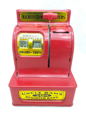 Uncle Sam's 3 Coin Cash Register Savings Bank It Adds It teaches Thrift