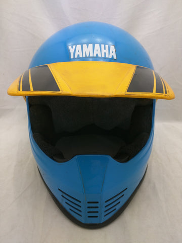 Yamaha Lazer MX Moto Cross Motorcycle Helmet VTG Blue Yellow Stripes Bike
