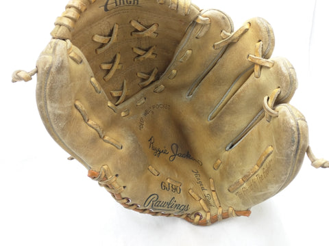 GJ90 Reggie Jackson Rawlings Endorsed Vintage Baseball Glove Mitt Leather RHT
