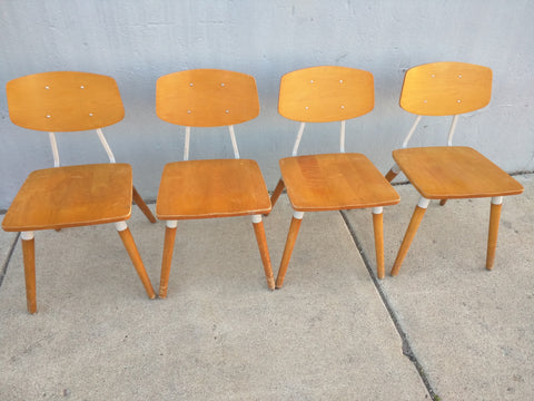 4 Hill Rom Chairs Mid Century Wood Plywood Backs Metal Office School Kitchen