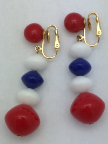 TRIFARI Red White Blue Lucite Dangle Drop Clip Earrings 4th of July Vintage
