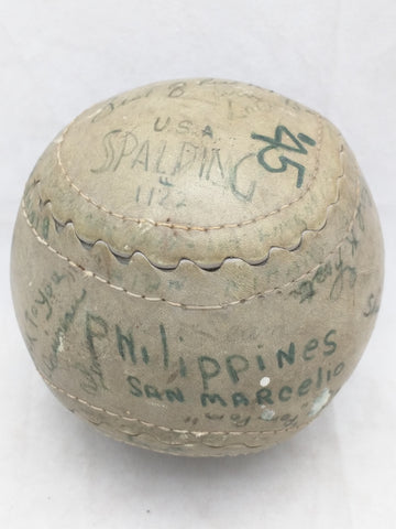 1945 Softball 1122 Spaulding Signed BY? Philippines San Marcelio Autograph Ball  Vintage