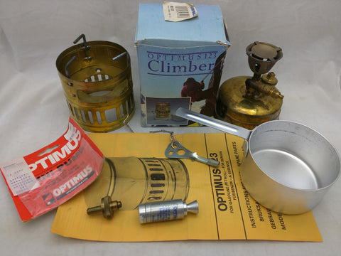 Mini Pump SVEA Optimus 123 Climber Vintage Camp Stove Box Manual Sweden