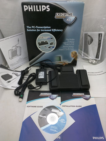 Philips LFH 6277 Executive PC Transcription Footpedal & Headphones Kit USB 2.0