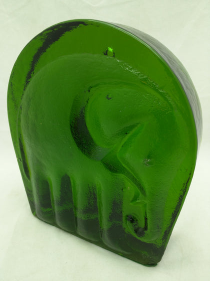 Blenko Green Elephant Bookend (1) Glass Mid-century Modern
