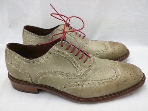 MERCANTI FIORENTINI Mens Gray Wingtip Oxfords 6650 Brogue Dress Shoe 9 M Italy