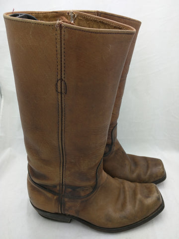 8 Men USA VTG Square Toe Frye Campus Cowboy Motorcycle Boots Distressed Caramel Brown
