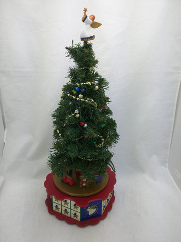 "AS-IS 14"" Avon Christmas Tree Advent Calendar Ornaments 23+angel, NO ROTATE Music"