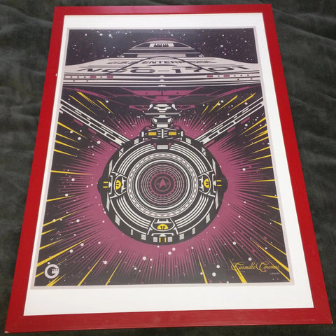 Star Trek Enterprise Poster 1988 Carmike Cinemas Framed 29 X 21