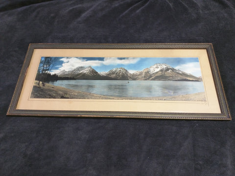 1934 Color Tinted Photo Mountains Lake Signed Framed 31x13 Vintage Print