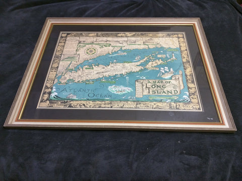 1961 A Map Of Long Island Framed Print 33 X26 Courtland Smith Richard Foster