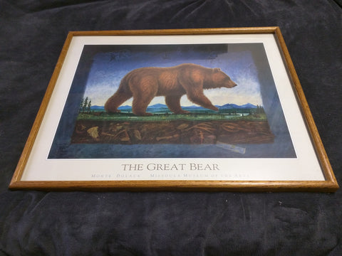 Great Bear Monte Dolack Signed Print Framed 32x 26 Needs Glass Reset the