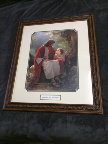 Teach Me To Walk In Your Light Signed Greg Olsen Print 27 X 23 Wood Frame