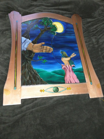 Mirror Tammy Walker Night Hands hand-painted 39x33 opens wall mount