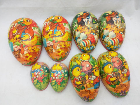 4 West Germany Eggs Paper Easter Egg Candy Container